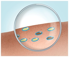 The dirt and fat molecules are turned into water-soluble droplets